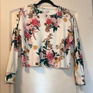 floral cropped sweatshirt